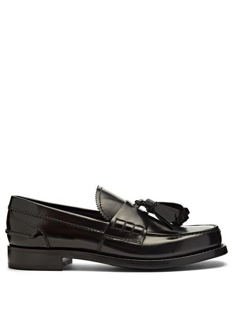 tassel loafers leather black shoes