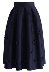 skirt,falling flowers airy pleated midi skirt in navy,chicwish,navy,midi,pleated skirt