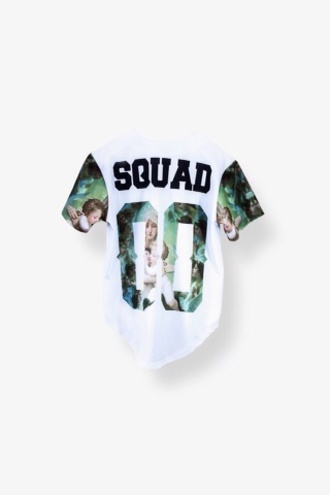 squad art baseball jersey baseball jersey dress baseball jersey baseball tee crop jersey tee urban streetwear shirt blouse 90s style t shirt print cute t-shirt 00s blue sleeves 00 tumblr white print a$ap swag dope trill winter swag white t-shirt top floral style