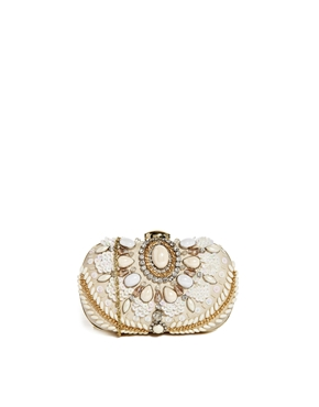River Island | River Island Jewelled Box Clutch in Cream at ASOS