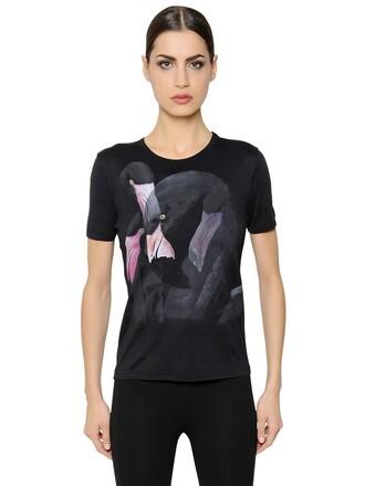 t-shirt shirt flamingo cotton black top