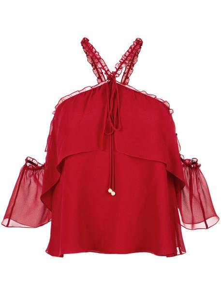blouse off the shoulder women silk yellow orange top