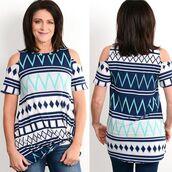 blouse,navy,cevron,blue,cold shoulder,boutique,womens fashion