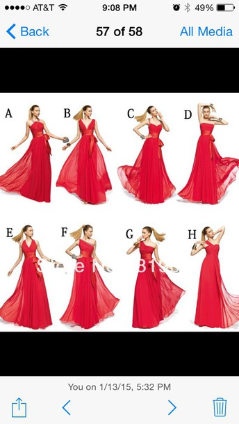 dress red dress one shoulder long dress