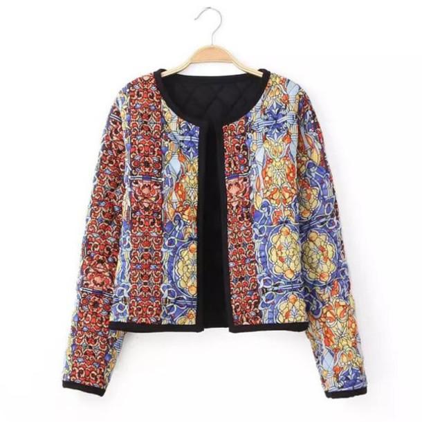 jacket print brenda-shop 36683 ornament colorful multicolor pattern crop