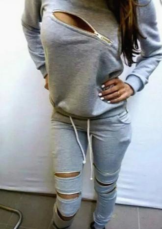 jumpsuit gray zipped pants zip up hoodie sweater sweatpants 2piece set 2piece outfit urban