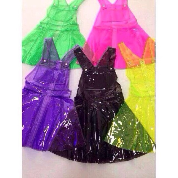 pinafore pinafore romper pvc 90s style chinese taobao plastic dress rubber pinafore dress cyber rubberdress dress