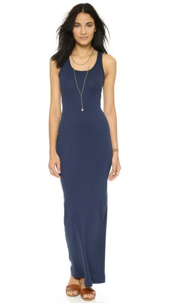 Splendid Ribbed Maxi Dress - Navy