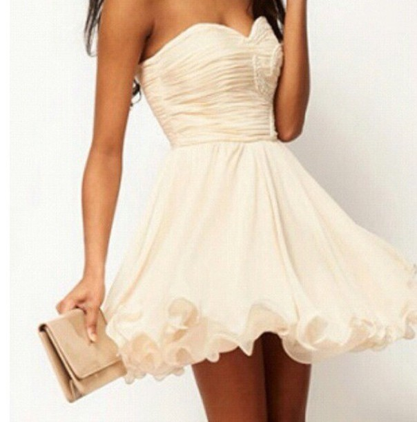 dress white dress clothes strapless dress