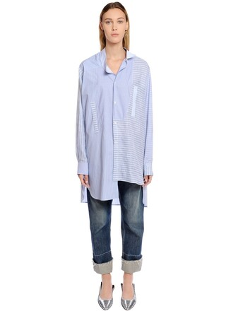 shirt asymmetrical cotton multicolor top