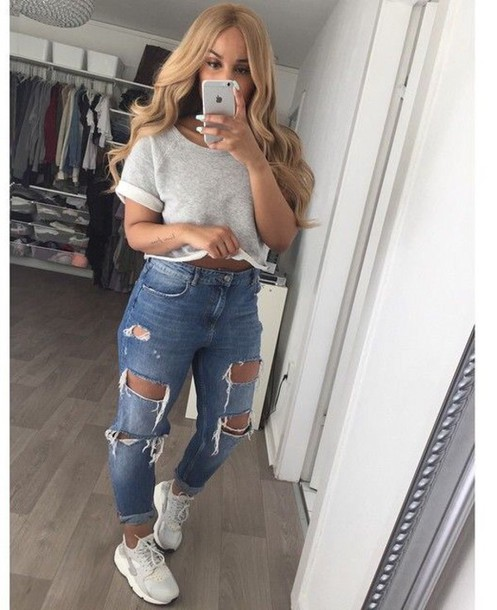 Shirt Crop Tops Jeans Iphone Ripped Jeans Grey Crop