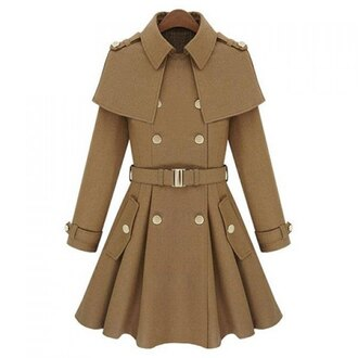 coat style nude brown trendy cute fall outfits fashion trench coat long sleeves trendsgal.com