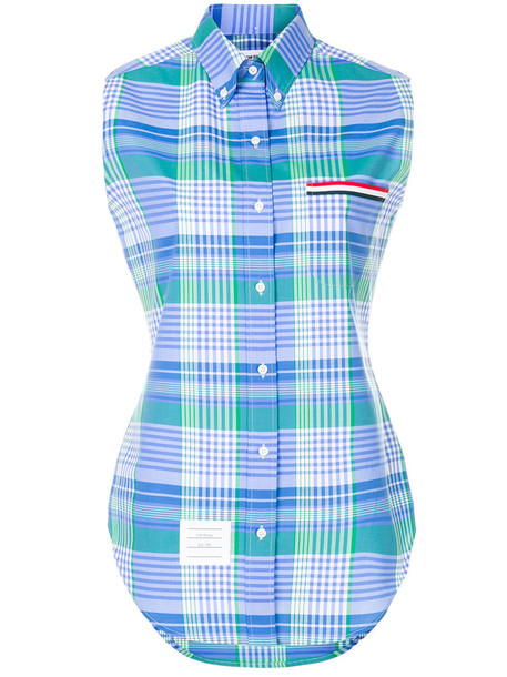 Thom Browne shirt sleeveless women cotton blue top