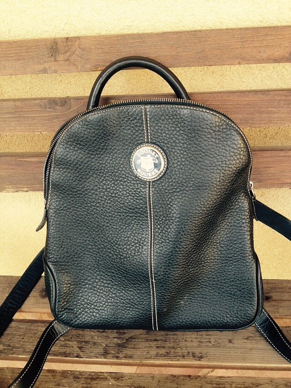 Dooney and Bourke Leather , All Weather Leather Black Backpack, Designer Bag - Distressed