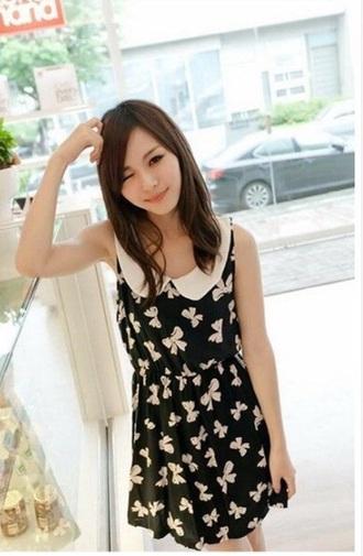 dress pattern bows peter pan collar black dress girly