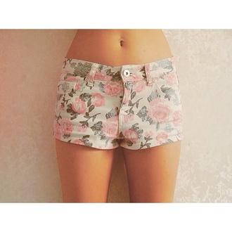 shorts floral shorts hot shorts pink roses pink green white roses print