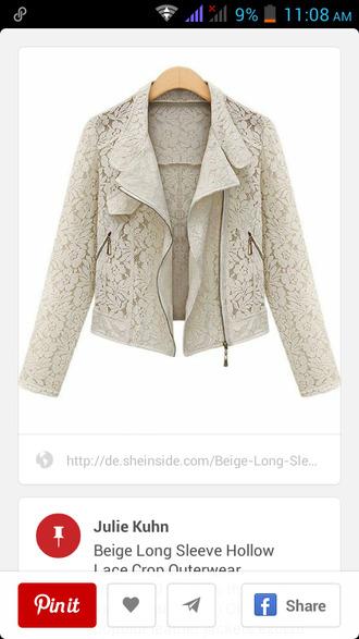 jacket style moto jacket lace jacket white jacket outerwear cute jacket zip biker jacket