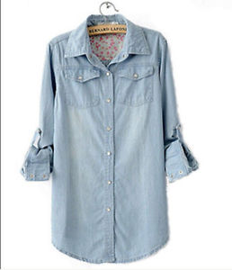 Women Lady Girl Retro Vintage Long Sleeve Blue Jean Denim Shirt Tops Blouse | eBay