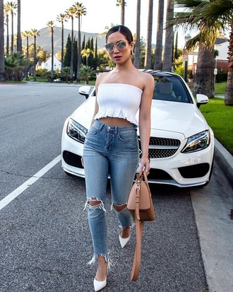 jeans pumps white pumps sunglasses bag brown bag denim blue jeans ripped jeans skinny jeans heels