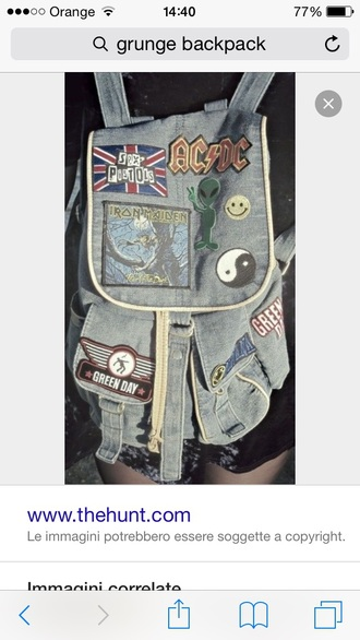 bag grunge backpack nirvana back to school grunge accessory denim backpack patch
