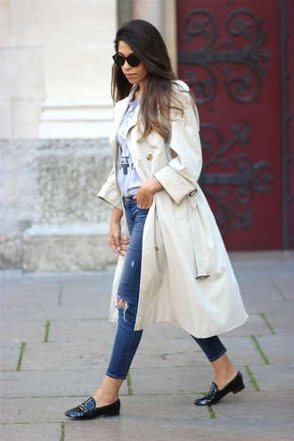 fadela mecheri blogger coat t-shirt jeans shoes