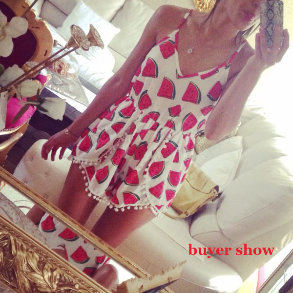 Fashion watermelon pattern dot loose change sides playsuit jumpsuit · fe clothing · online store powered by storenvy