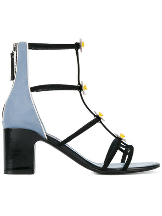 women daisy embellished sandals leather blue suede shoes