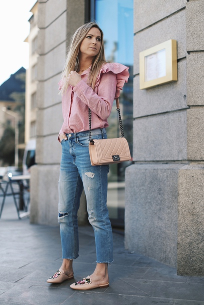 shirt tumblr pink shirt ruffle ruffle shirt spring outfits denim jeans blue jeans ripped jeans bag nude bag shoes mules