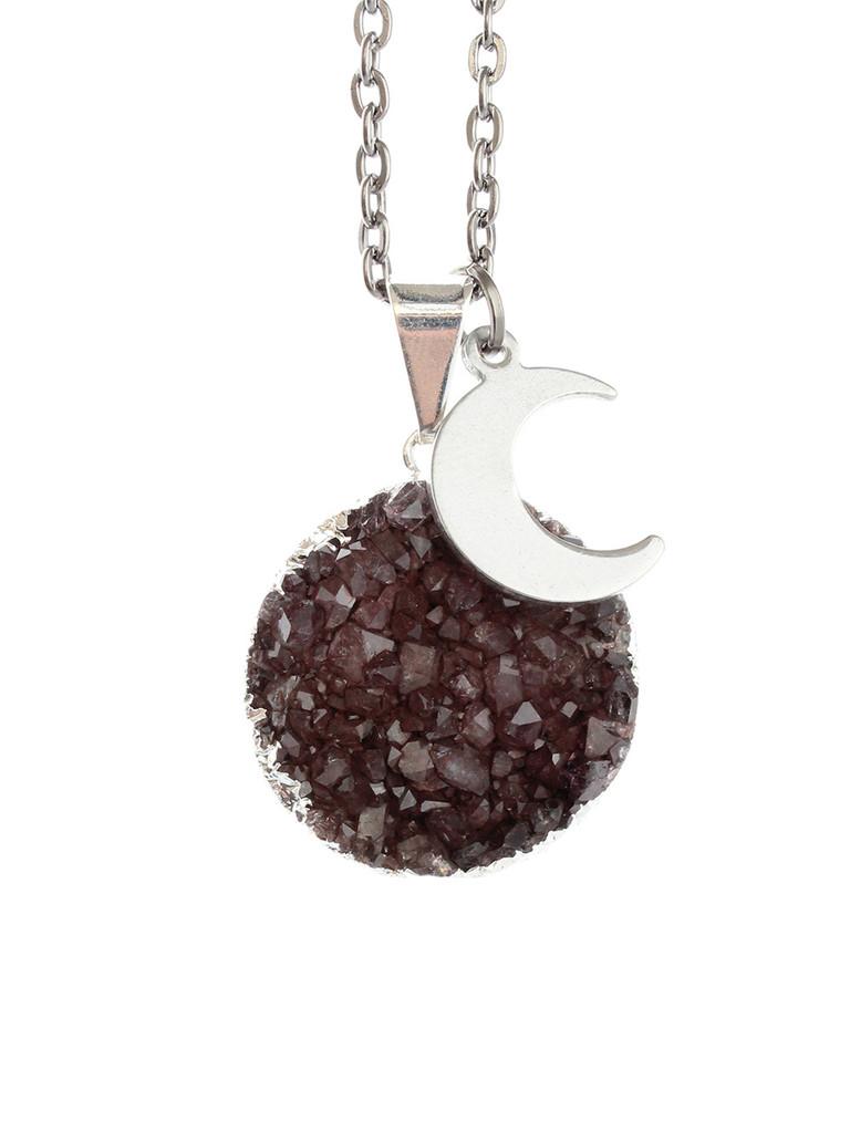 Dark moon rising druzy necklace