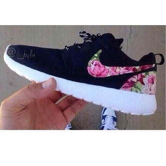 shoes nike black custom flowers nike roshe run nike shoes womens roshe runs nike running shoes nike air white pink rose nike floral sneaker nike sneakers floral