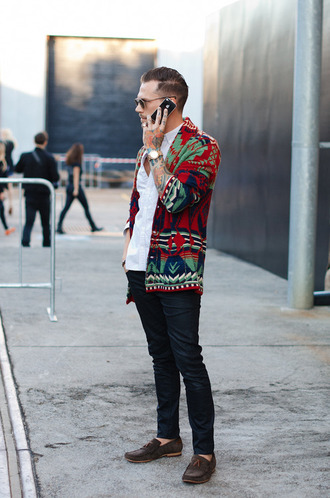 sweater red green blue tribal sweater cardigan menswear mens sweater mens cardigan mens pants