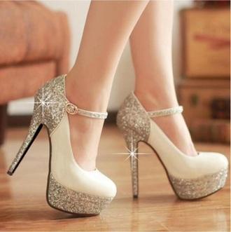 shoes pumps heels glitter shoes white beige high heels silver heels anckle pumps high heels high pumps