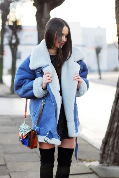 blue jacket faux fur jacket shearling jacket oversized jacket winter jacket blue denim fur vintage coat jacket