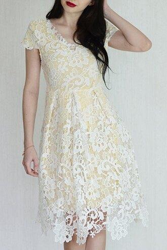 dress white lace summer spring elegant midi dress gamiss
