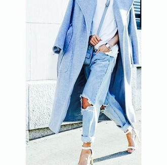 coat baby blue blue boyfriend coat it! killin' it ha jeans shoes t-shirt bag blouse