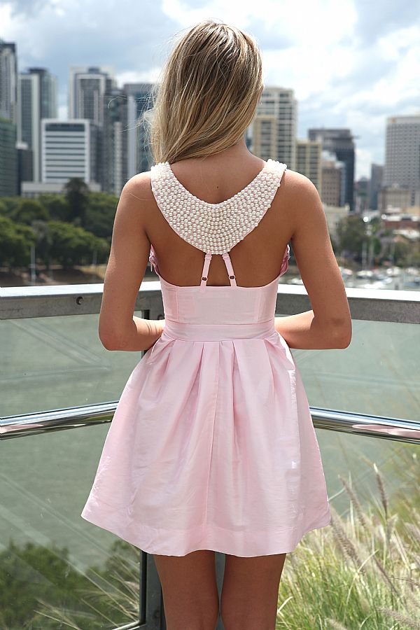 Pink Party Dress - Pink Dress with Beaded Back | UsTrendy