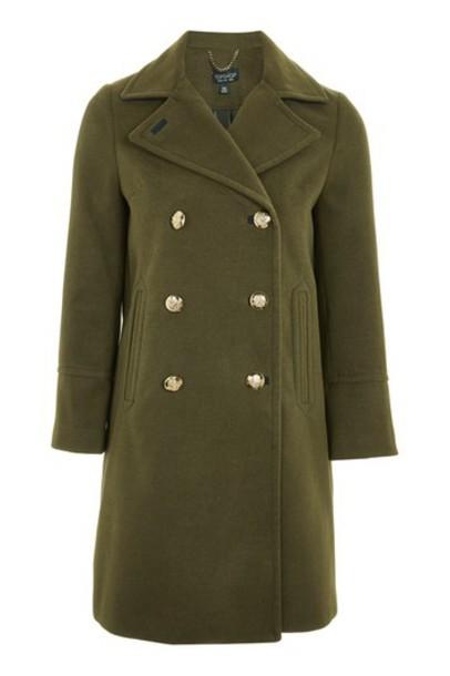 Topshop coat pea coat khaki