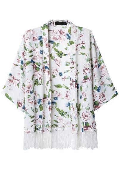 Graceful Foliage Print Tassels-Trim Kimono - OASAP.com
