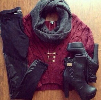 shoes boots style black sweater leggings scarf