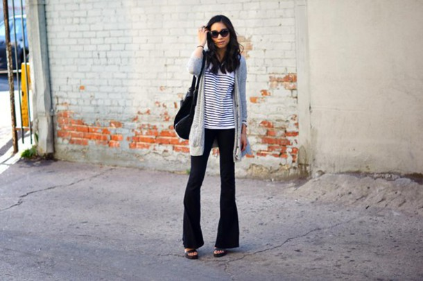 dance in my closet blogger cardigan flare pants striped top