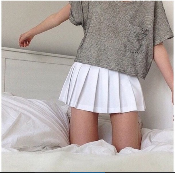 Skirt: white, pleated, short, school style, tennis skirt ...