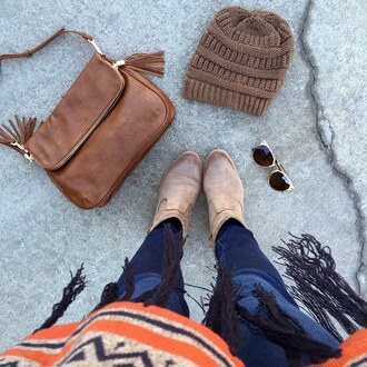 shoes booties fringes poncho purse beanie boots taupe what i wore ootd casual chic gojane