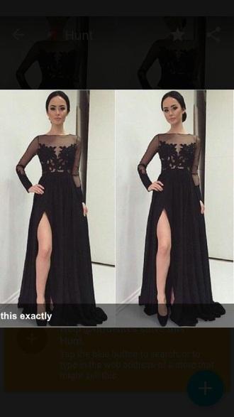 dress black prom lace long slit