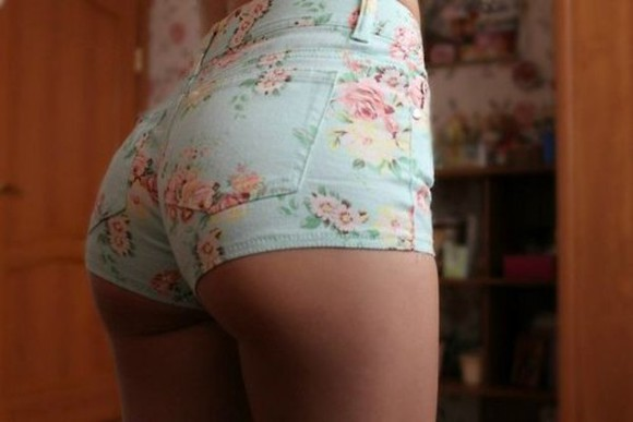 blue green shorts floral highwaisted shorts high waisted shorts vintage