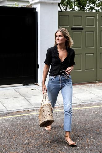le fashion image blogger blouse shoes top tumblr black top denim jeans blue jeans sandals flat sandals bag basket bag