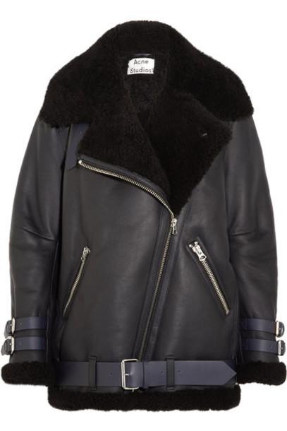 Acne Studios jacket shearling jacket leather blue