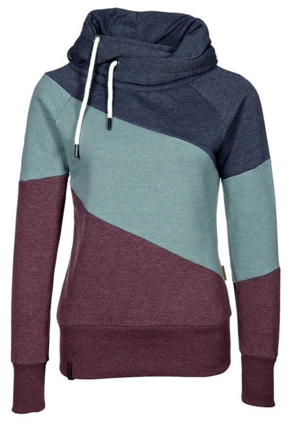 jacket clothes hoodie colorblock sweater sweatshirt cute cozy blue green burgundy casual Casual Color Block Long Sleeves Hoodie For Women sporty comfy style fashion rg