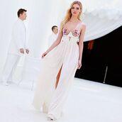 dress,nicola peltz,maxi dress,white dress,white maxi dress,summer dress,sexy dress,spaghetti straps dress,celebrity,actress