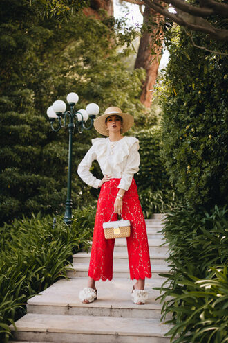 pants red pants wide-leg pants shoes mules top white top bag hat ruffled blouse straw bag spring outfits