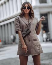 bag,mini bag,crossbody bag,blazer dress,mini dress,pocket dress,aviator sunglasses,chain necklace
